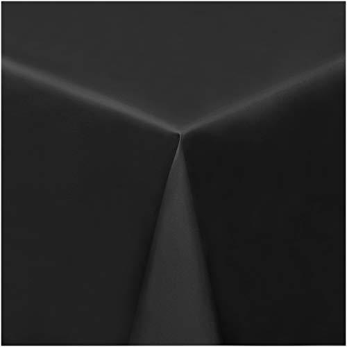 chdecke Wachstischdecke Wachstuch Tischdecke abwaschbar (8001-01) - 160 x 140 cm - mit Kreide bemalbare und abwischbare Tafel - PVC Tischdecke in Schwarz ()