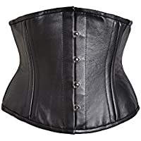 Killer Corsets Women's Sexy Corset in Black Leather Waist Cincher Steel Boned
