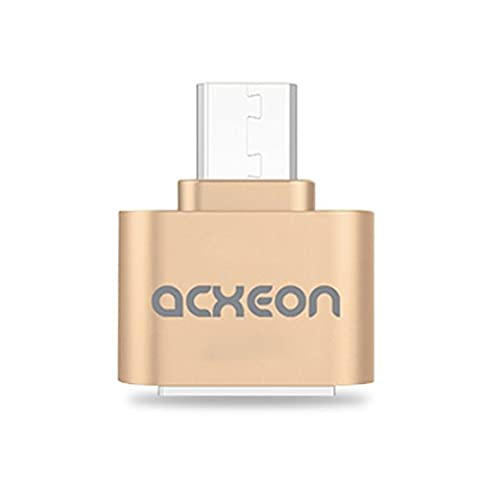 Acxeon Micro USB to USB OTG Adapter 2.0 Converter for Android Samsung Galaxy Tablet PC Connect to Flash Mouse Keyboard - Micro USB Male to Female B Connector Plug - USB On The Go Adapter - Transforms Memory USB Stick into Micro USB for Smartphone mobile phone and Tablet Gold