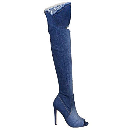 Toocool - Scarpe donna stivali denim jeans strappati alti sopra ginocchio nuovi KS7039 Blu scuro