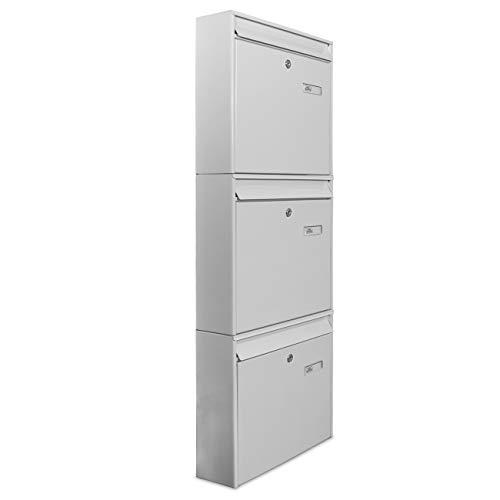banjado Briefkastenanlage 3 Fach | 32x109x10cm groß Stahl weiß DIN A4 | Briefkasten Set 3 Briefkästen mit Namensschild, 2 Schlüssel, Montagematerial