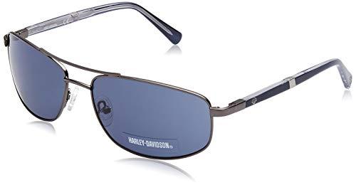 Harley-Davidson Herren HD0922X Sonnenbrille, Schwarz (Shiny Gumetal/Blue), 61