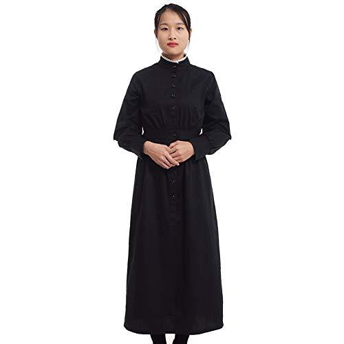 GRACEART Pionier Damen Kostüm Prärie Kleid Dienstmädchen Mädchen Kostüm Einteiliges Viktorianische Zofe (Schwarz(Reine Baumwolle), Small) (Mädchen Colonial Girl Kostüm)