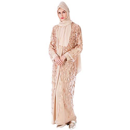 AmyGline Muslimische Kleider Damen islamische Kleider Langarm Elegant Lang Kleid Maxikleid Tüll Kleider schwarz Strickjacke Robe Muslim Arab Kleid Dubai Kaftan Ramadan Kleider Gebet Kleid
