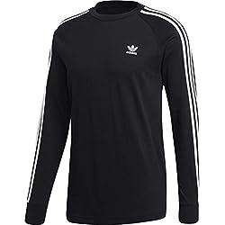 adidas 3-Stripes Longsleeve T-Shirt, Maglietta Uomo, Nero, L