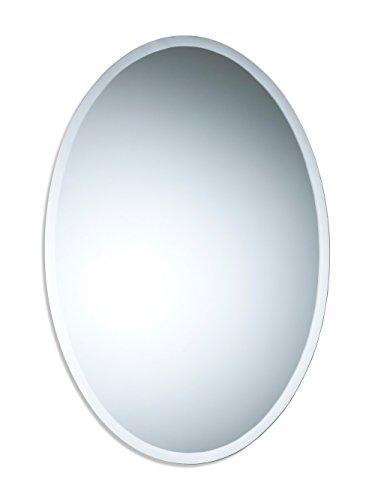 Precioso espejo oval de baño, moderno y elegante, con bisel, para instalar en la pared 70cm x 50cm