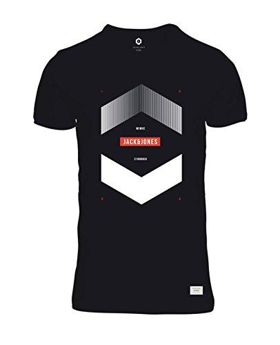 JACK & JONES Herren T-Shirt jcoBOOSTER 4 Tee Print Rundhals Regular Fit Schwarz (Black Fit:REG)