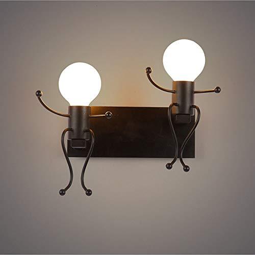 DNACC Lámpara De Pared De Doble Cabeza, Lámpara De Pared De Robot, Lámpara De Pared De Hierro Creativo...