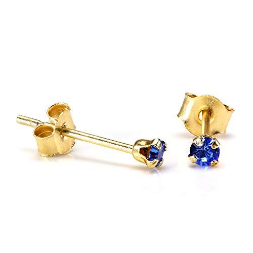 Orecchini punto luce in oro giallo 9ct e pietre blu Zaffiro rotonde di 2mm