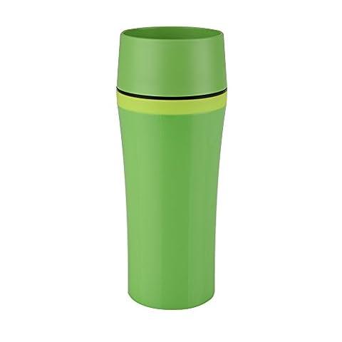 Emsa 514177 Isolierbecher, Mobil genießen, 360 ml, Quick Press Verschluss, Dunkelgrün/Grün, Travel Mug