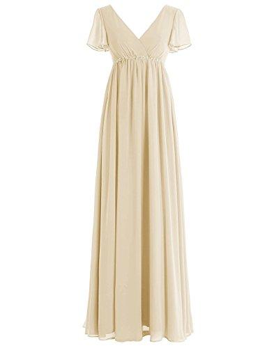 BetterGirl Damen Chiffon Lange Abendkleid Kurarm empire-Taille Brautjungfernkleid Ballkleid-Champagner-44