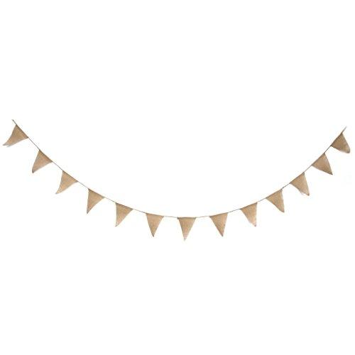 homiki 2.8M DIY Guirlande Bannière Banderole en Jute d'anniversaire pour mariage, fêtes d'enfants Décoration peinte à la main