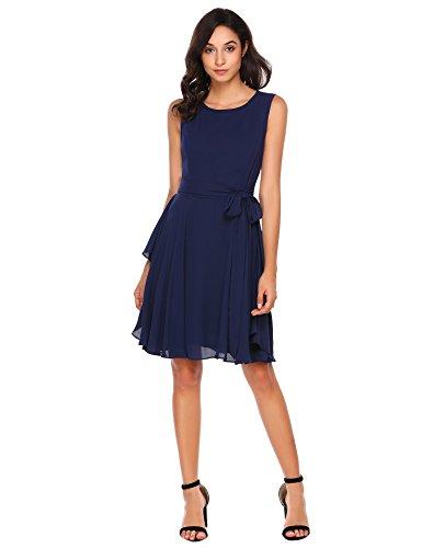 Zeela Damen Elegantes Chiffon Kleid Asymmetrisches Festliches Brautjungfernkleid Abendkleid Ballkleid mit abnehmbarem Gürtel Blau