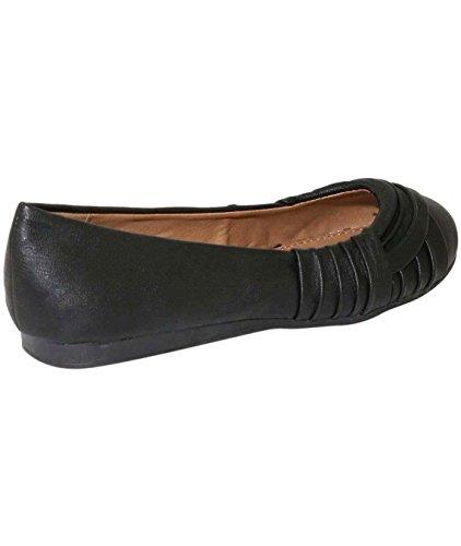 PILOT® kylie plis plat ballerine chaussures Noir