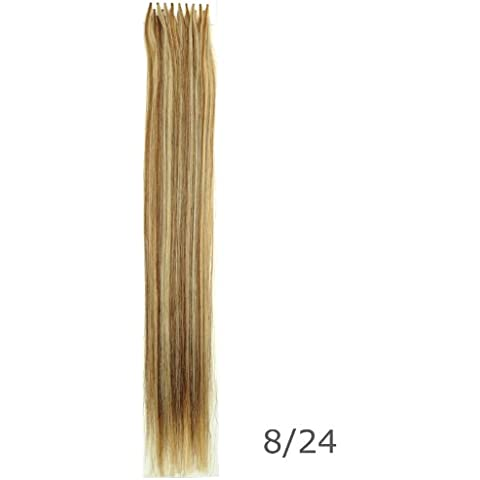 24 Inch U-Tip (Nail Tip) Hot Fusion Hair Extensions, 25 pcs Remy Human Hair Extensions Piano blend Light Chestnut Brown/Golden Blonde (#P8/24) by Clenna USA by Clenna
