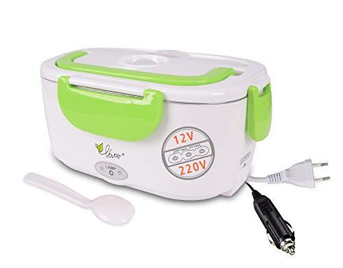Fiambrera eléctrica comida térmico Lunch Box Fiambreras bento Uso en coche eléctrica con Bandeja extraíble acero inoxidable Recipiente de comida térmico 12V /220V 2en1