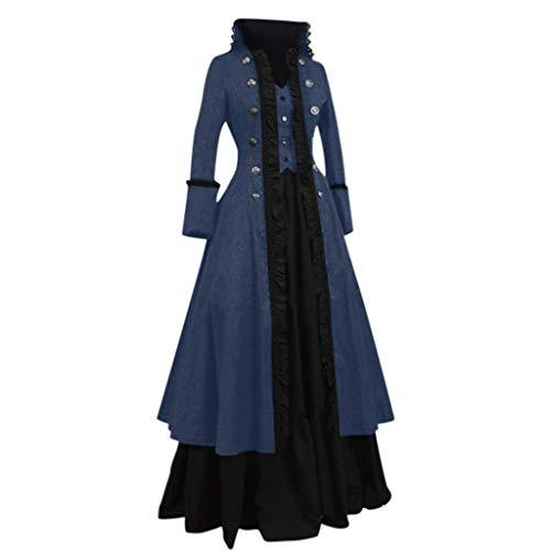 Sannysis Mittelalter Kleid 2 Teilig Mantel + Corsagenkleid Punk Jacke Hexenkostüm Umhänge Vampir V-Ausschnitt Gothic Viktorianischen Prinzessin Renaissance Bodenlanges Kapuzenkleid -