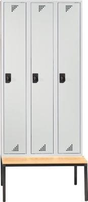 EUROKRAFT Garderobenschrank mit untergebauter Sitzbank - 3 Abteile, Breite 900 mm Türen lichtgrau - Garderobe Garderobenbank Garderobenbänke Garderobenschrank Kleiderschrank Kleiderspind Lochblechspind Schrank Spind Umkleideschrank Unterkunftschrank