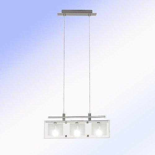 """Hängeleuchte \""""Yola\"""" in Edelstahl Finish kombiniert mit klarem und satiniertem Glas - 450 mm"""