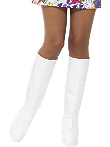 Smiffys, Damen GoGo Stiefel Überzieher, One Size, Weiß, - Halloween-stiefel Halterlose Strümpfe
