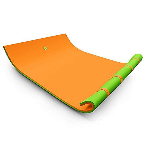 FlowerW Schwimmende Wasser Matten Reihen Bewegende Schaum Auflage Wasser Erholung und Entspannung Pool/Strand/See Wasser Matte mit DIY Kopf Kissen für Erwachsene und Kinder(9x6ft,Orangen Grün) -