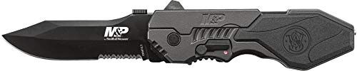 S&W M&P, Black Aluminum Handle, Drop Pt, Black Blade, Combo -