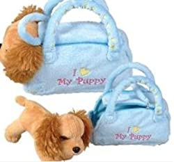Puppy In Purse Plush Blue Purse 9 Inch
