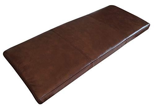 Quattro Meble Antic Braun Echtleder Bankauflage Sitzkissen Lederkissen Sitzpolster Bank Auflage doppelt genähtes Echt Leder Kissen Sitzauflage (35 x 90 cm)