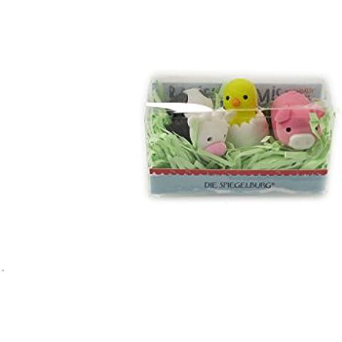 Gomme per cancellare animali della fattoria, contiene 3 pezzi assortiti