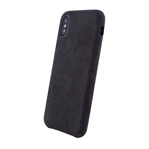 PDA-Punkt Dual Alcantara Leder Handyhülle kompatibel mit iPhone XS/X Cover/Case/Hülle SCHWARZ