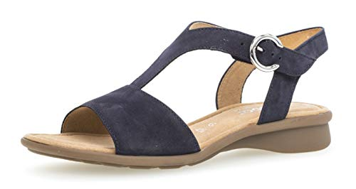 Gabor 26.062 Damen Sandalen,Riemchensandale, Frauen,Sandalette,Sommerschuh,flach,Comfort-Mehrweite,Blue,8 UK -