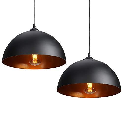 CCLIFE 2er Industrielle Pendelleuchte Hängeleuchte Metall Schwarz/Weiß, Farbe:Schwarz