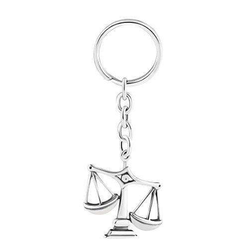 STERLL Herren Schlüssel-Anhänger Sternzeichen Waage Silber 925 Oxidiert Schmuck-Beutel Geschenke für Männer