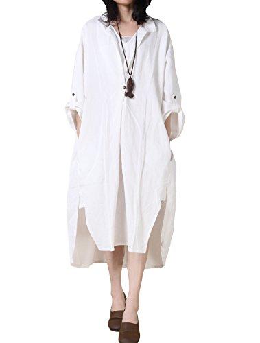 Vogstyle Damen Plus Größe Baumwollleinen Einschultriges Shirt Kleider Large White (Weißes Kleid Plus Größe)
