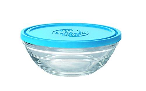 Duralex 9065AM12 LYS Salatschüssel, rund, mit Deckel, aus Glas, transparent/blau, 14,2cm Durchmesser Duralex Lys