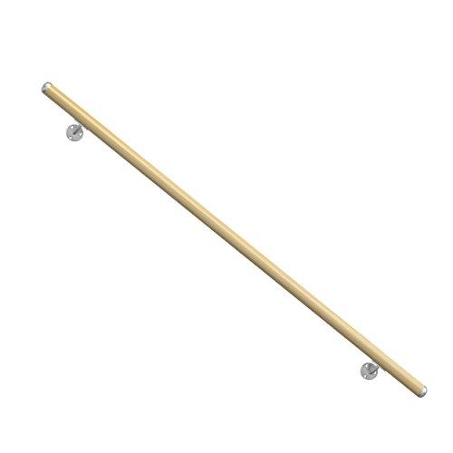 Holz-Handlauf Fichte, hochwertiges Komplett-Set. Länge 1500 mm (kürz- und verlängerbar). Set komplett mit Wandhaltern, Dübeln und Schrauben. Aus natürlichem Massivholz Fichte unbehandelt.
