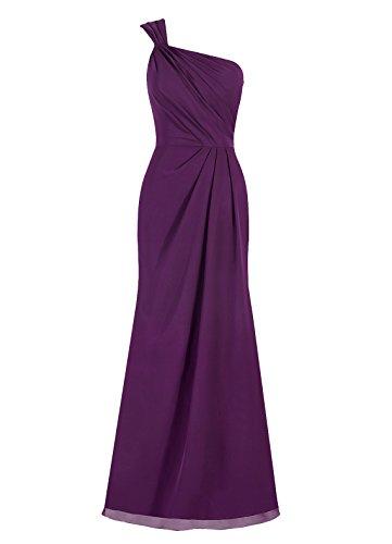 Dresstells, Epaule asymétrique robe de soirée, robe de cérémonie, robe longue de demoiselle d'honneur Rose