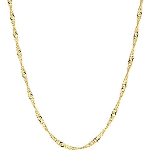 Frauen Halskette Für Karat 14 Gold (14 Karat / 585 Gold Singapur Kette Licht Zweiseitig Diamantiert Unisex , Länge Wählbar (44))