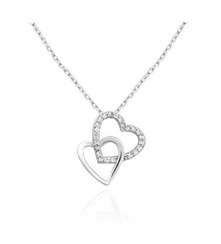 SOFIA MILANI Damen-Halskette Doppel Herz 925 Silber 50032 (Herz-anhänger Moderne)