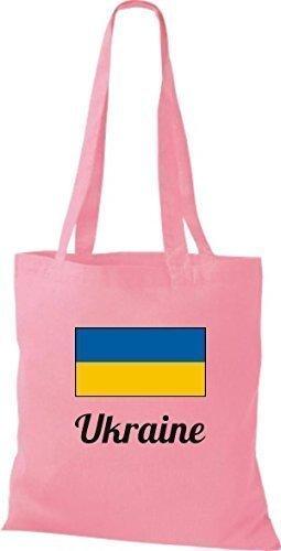 ShirtInStyle Stoffbeutel Baumwolltasche Länderjute Ukraine Ukraine Farbe Hellbraun rosa