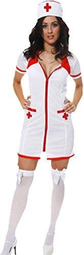 Faschingsfete - Damen Verführerisches Krankenschwester Kostüm, Karneval, Fasching , 40, Weiß (Netzstrümpfe, Perücke Kappe)