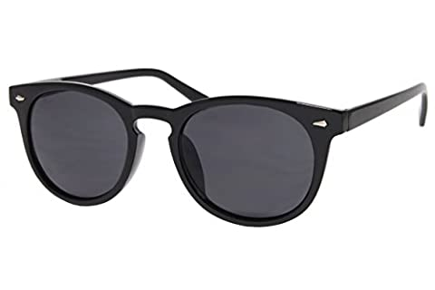 Cheapass Sonnenbrille Rund Schwarz Nerd Retro Damen Herren