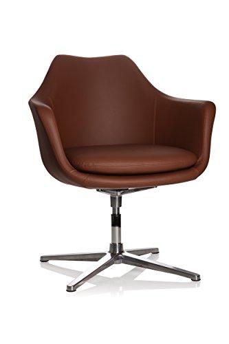 hjh OFFICE 600988 Lounge Sessel ARTEMIA Kunstleder Braun Drehsessel im eleganten - Lounge-sessel Home