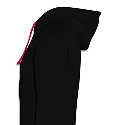 Statement Shirts - The Captain is always right - Kontrast Hoodie Schwarz/Fuchsia