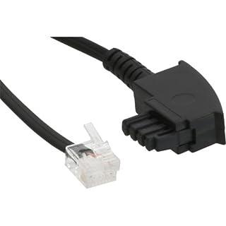 TAE-F Kabel für DSL Splitter, InLine®, TAE-F Stecker an Western 6/2 DEC Stecker, 15m