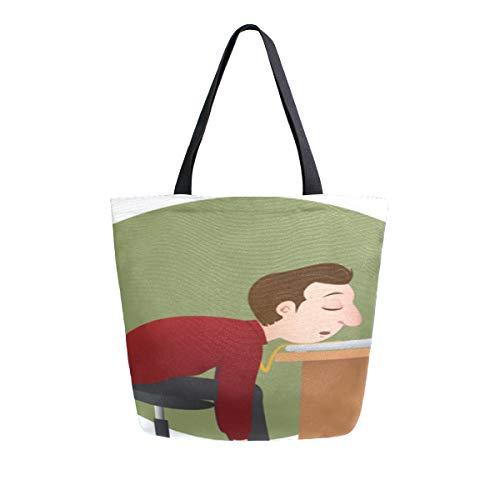 Reopx Sleepy Office Faule Arbeit Müde Menschen Tragbare Große Doppelseitige Lässige Canvas Tragetaschen Handtasche Schulter Wiederverwendbare Einkaufstaschen Duffel Geldbörse Frauen Männer - Vorteil Computer-schreibtisch