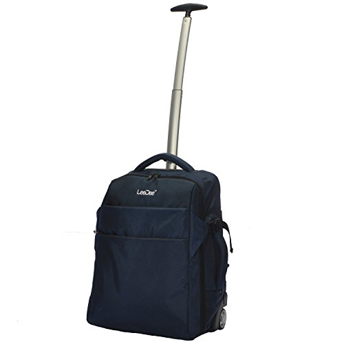 3 in 1 Wheeled Cabin Approved Trolley Travel Bag Flight Backpack Hand Luggage Suitcase Holdall Laptop Bag (Navy)