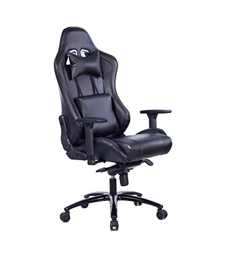 Wolmics Gaming Stuhl Racing Stuhl Gaming Chair PC Stuhl Ergonomischen Bürostuh Leder Schreibtisch Stuhl mit Verstellbare Kopfstütze und Lendenkissen (Grau) -