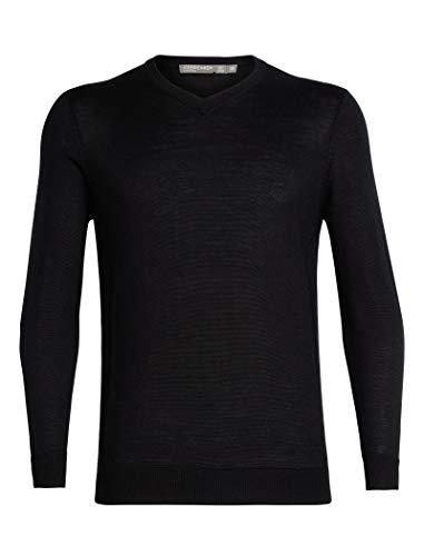 Icebreaker Herren Merino Quailburn V Sweater, Herren, Quailburn V-Neck Sweater, schwarz, Large V-neck Sweatshirt
