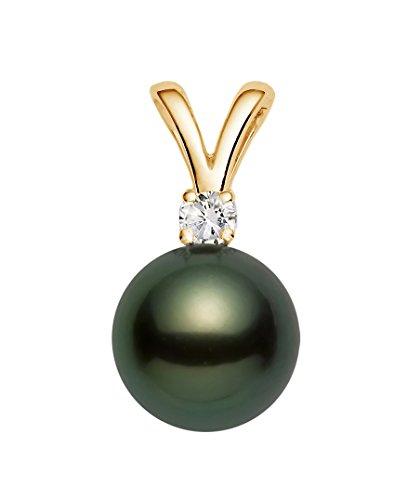 14K Or jaune Diamant Noir Pendentif avec perle de culture de Tahiti de qualité AAA